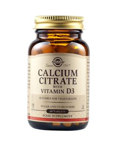 Solgar Calcium Citrate With Vitamin D3 250mg 60 Ταμπλέτες