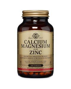 Solgar Calcium Magnesium Plus Zinc Ασβέστιο, Μαγνήσιο & Ψευδάργυρος Χρήσιμο Συμπλήρωμα Σε Περιπτώσεις Εμμηνόπαυσης 100 Ταμπλέτες