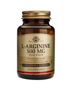 Solgar L-Arginine 500mg Αργινίνη για τη Σωστή Λειτουργία των Κυττάρων & του Μεταβολισμού 50 Φυτικές Κάψουλες