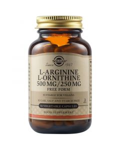 Solgar L-Arginine 500mg L-Ornithine 250mg Φόρμουλα Με Αργινίνη & Ορνιθίνη 50 Φυτικές Κάψουλες