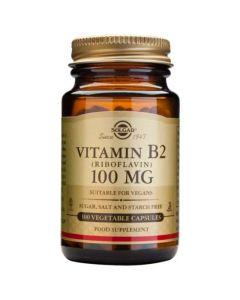 Solgar Vitamin B2 100mg Βιταμίνη Β12 για την Κόπωση των Ματιών & την Γενική Αίσθηση Κούρασης 100 Φυτικές Κάψουλες