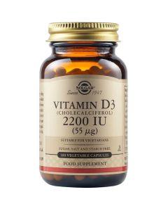 Solgar Vitamin D3 2200IU Βιταμίνη D3 για την Απορρόφηση Ασβεστίου & για Υγιή Οστά & Δόντια 100 Φυτικές Κάψουλες