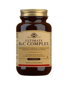 Solgar Ultimate B+C Complex Σύμπλεγμα Βιταμινών Β & C Για Την Ενίσχυση Του Νευρικού & Ανοσοποιητικού Συστήματος 60 Φυτικές Ταμπλέτες