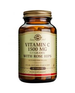 Solgar Vitamin C 1500mg With Rose Hips Βιταμίνη C για Ενίσχυση του Ανοσοποιητικού & Αντιοξειδωτική Δράση 90 Ταμπλέτες