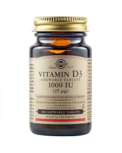 Solgar Vitamin D3 1000IU (25μg) Μασώμενα Δισκία Με Γεύση Φράουλα & Μπανάνα 100 Chewable Tablets