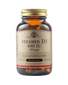 Solgar Vitamin D3 400IU Βιταμίνη D3 για την Απορρόφηση Ασβεστίου & για Υγιή Οστά & Δόντια 100 Μαλακές Κάψουλες