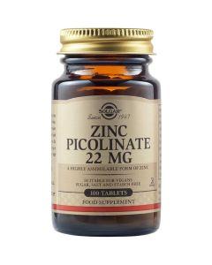 Solgar Zinc Picolinate Σκεύασμα με Ψευδάργυρο 22mg για τη Φυσιολογική Διατήρηση Μαλλιών, Δέρματος & Νυχιών 100 Ταμπλέτες