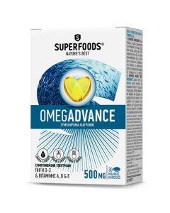 Superfoods Omegadvance 500mg Για Τη Φυσιολογική Όραση Και Λειτουργία Του Εγκεφάλου Και Της Καρδιάς Φυσικό Συμπλήρωμα Διατροφής Με Ιχθυέλαιο Υψηλής Ποιότητας & Καθαρότητας 30 Caps