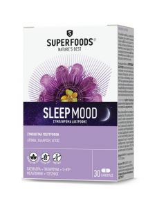 Superfoods Sleep Mood Φυσικό Συμπλήρωμα Διατροφής Με Πασιφλόρα, Παπαρούνα Καλιφόρνιας & Jujuba Για Τη Μείωση Της Αϋπνίας 30 Caps