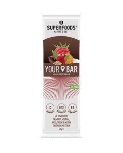 Superfoods Your Bar Cranberry Μπάρα Υπερτροφών Με Κράνμπερι, Ράσμπερι, Μαύρη Σοκολάτα Με Στέβια, Μέλι & Ταχίνι 45g