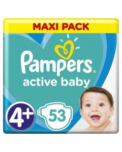 Pampers Active Baby Maxi Pack No 4+ (10-15Kg) Βρεφικές Πάνες 53 Τμχ