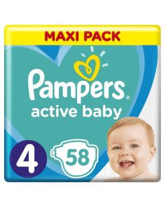 Pampers Active Baby Maxi Pack No 4 (9-14Kg) Βρεφικές Πάνες 58 Τμχ