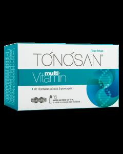 Uni-Pharma Tonosan Multivitamin Συμπλήρωμα Διατροφής Για Την Eνέργεια & Τόνωση Για Όλη Την Οικογένεια 15 Φιαλίδια x15ml