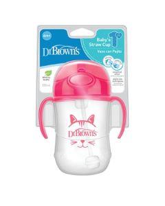 Dr. Brown's Baby's First Straw Cup Κύπελο με Καλαμάκι Ροζ 270ml 6m+