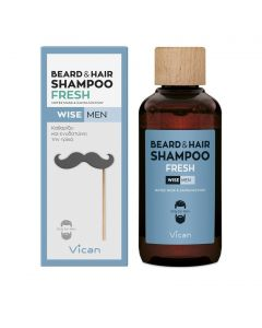Vican Wise Men Beard & Hair Shampoo Fresh Σαμπουάν Για Τα Mαλλιά & Τη Γενειάδα 200ml