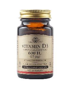 Solgar Vitamin D3 600IU Γερά Οστά, Δόντια, Νευρικό Σύστημα, Λειτουργία Θυρεοειδή 60 Vegetable Caps
