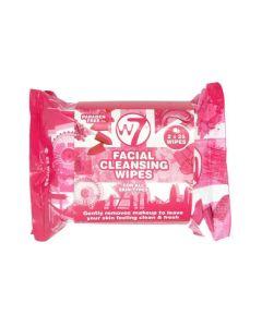 W7 Facial Cleansing Wipes Μαντηλάκια Καθαρισμού Προσώπου 2X25