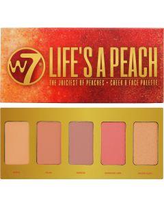 W7 Cosmetics Lifes A Peach Παλέτα Ρουζ Με 5 Φυσικές Αποχρώσεις 15g