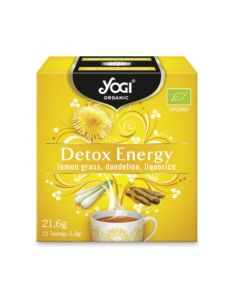 Yogi Organic Tea Detox Energy Τσάι Με Λεμονόχορτο, Πικραλίδα & Γλυκόριζα Για Ενέργεια & Τόνωση 12φακελάκια