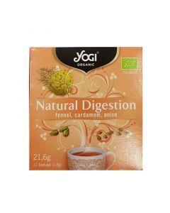 Yogi Organic Tea Natural Digestion Τσάι Με Μάραθο, Κάρδαμο & Γλυκάνισο Για Βοήθεια Στη Χώνεψη 12φακελάκια